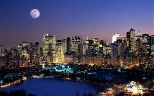 города, нью-йорк , сша, город, огни, луна, снег