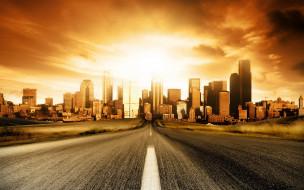 города, - здания,  дома, город, дорога, закат