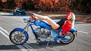 мотоциклы, мото с девушкой, байкерша