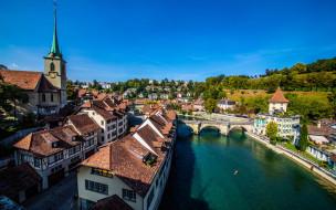 обои для рабочего стола 2560x1600 города, берн , швейцария, река, мост, панорама