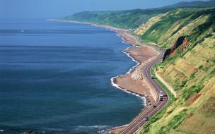 природа, побережье, япония, хоккайдо, море, берег, дорога, машины, горы
