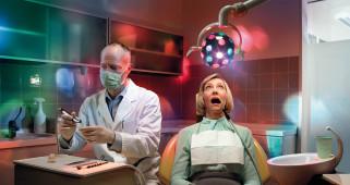 дантист, женщина, стробоскоп