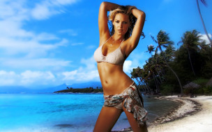 девушки, katherine heigl, блондинка, купальник, тропики, море, пляж