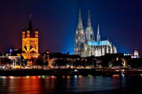 обои для рабочего стола 2560x1704 города, кельн , германия, собор, вечер, огни