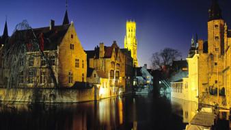 обои для рабочего стола 1920x1080 города, брюгге , бельгия, канал, дома, вечер