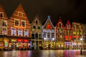 обои для рабочего стола 2048x1357 города, брюгге , бельгия, улица, вечер, огни, фонари, дома