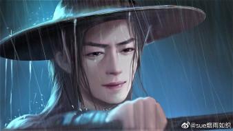 рисованное, кино,  мультфильмы, вэй, усянь, шляпа, дождь, слезы, флейта