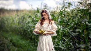 девушки, - брюнетки,  шатенки, платье, кукуруза