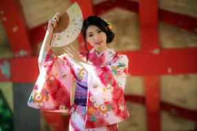 девушки, - азиатки, азиатка, кимоно, веер