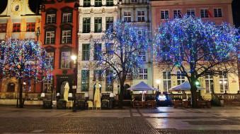 города, гданьск , польша, улица, вечер, иллюминация