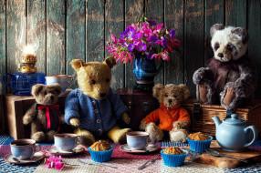 разное, игрушки, лампа, плюшевые, медведи, чаепитие, кексы