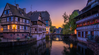 города, страсбург , франция, канал, мост, вечер, огни