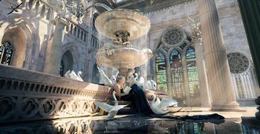 девушка, книга, лебеди, дворец