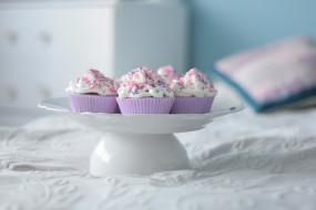 еда, пирожные,  кексы,  печенье, кексы, тарелка, постель