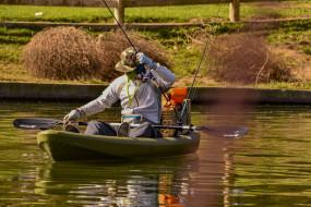 рыбак, лодка, удочки