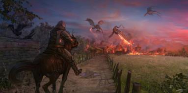 всадник, драконы, город, дорога