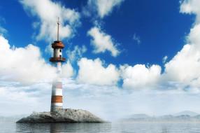 маяк, камень, море, облака