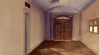 рисованное, города, коридор, дверь, дом
