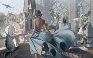 фэнтези, _ghost blade ,  призрачный клинок, девушка, голуби, дворец
