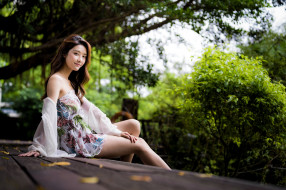 девушки, - азиатки, азиатка, платье, улыбка