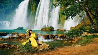 девушки, - азиатки, водопады, азиатка