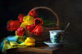 цветы, тюльпаны, корзинка, шарф