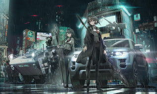 аниме, оружие,  техника,  технологии, девушки, ночь, солдаты, улица