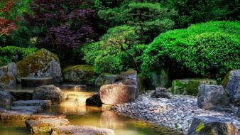 камни, парк, водоем, деревья, кусты