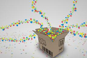 коробка, ящик, конфетти
