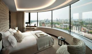 интерьер, спальня, кровать, панорамное, окно