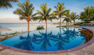 интерьер, бассейны,  открытые площадки, пляж, пальмы, океан, бассейн, африка, курорт, танзания, занзибар, sea, cliff, resort, mangapwani, zanzibar, kama, village