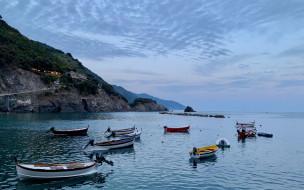 горы, лодки, моторные, море