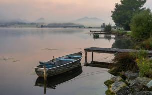 горы, озеро, лодка, мостки