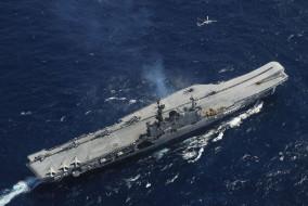 авианосец, палуба, вид с воздуха, корабль, вмс, военный корабль, море, vickers armstrong, hms hermes, ins viraat, индийский, лeгкий, авианосец, тип, центавр