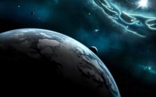 космос, арт, планеты, астероиды