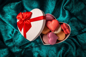ткань, подарок, макаруны, сердечки, лента, бант