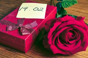 подарок, коробка, лента, роза, дата