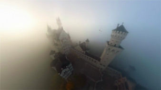 замок, осень, ракурс, туман