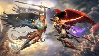 девушки, ангелы, мечи, армии, бой