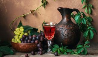 кувшин, бокал, вино, виноград, ассорти