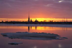 закат, шпили, река, лед