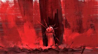 воин, стрелы, стена