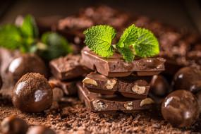 еда, конфеты,  шоколад,  мармелад,  сладости, мята, шоколад, орехи