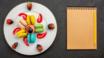 еда, макаруны, печенье, лакомство, блокнот