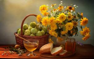 еда, натюрморт, букет, корзинка, мед, хлеб