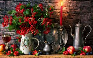 еда, натюрморт, блюдо, свеча, сливы, рябина, вино, нектарины