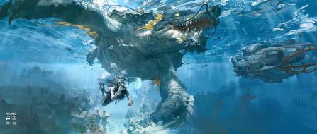 фэнтези, существа, море, город, техника, черепаха, ныряльщик