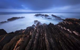 природа, побережье, камни, берег, туман, море