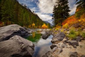 природа, реки, озера, осень, лес, облака, река, камни, берег, речка, водоем, валуны
