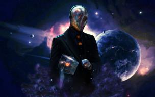 фэнтези, существа, человек, космос, планеты, куб